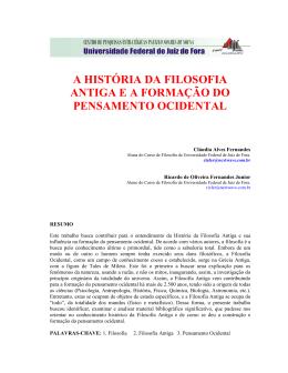 a história da filosofia antiga e a formação do