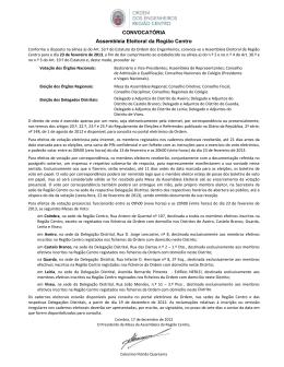 CONVOCATÓRIA Assembleia Eleitoral da Região Centro