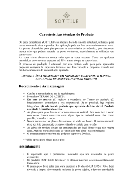 Características técnicas do Produto Recebimento e