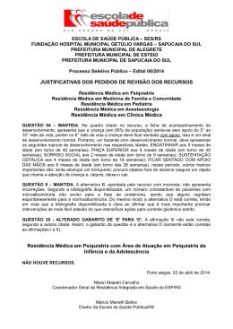 JUSTIFICATIVAS DOS PEDIDOS DE REVISÃO DOS RECURSOS
