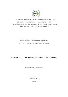 A IMPORTÂNCIA DO BRINCAR NA EDUCAÇÃO INFANTIL