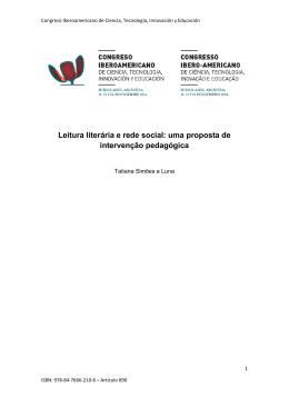 Leitura literária e rede social: uma proposta de intervenção