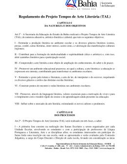 Regulamento do Projeto Tempos de Arte Literária (TAL)
