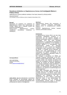 Resistência Antibiótica no Staphylococcus Aureus Mendes, JJ