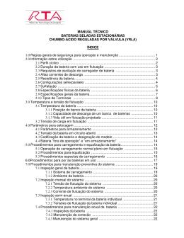 MANUAL TÉCNICO BATERIAS SELADAS ESTACIONÁRIAS