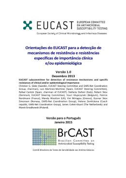Orientações do EUCAST para a detecção de mecanismos