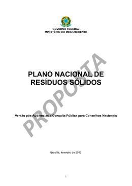 Plano Nacional de Resíduos Sólidos - PNRS