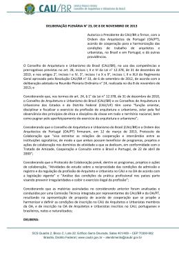 Autoriza o Presidente do CAU/BR a firmar, com a Ordem dos