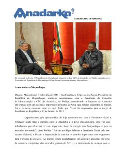 Sua Excelência Filipe Jacinto Nyusi, Presidente da Repú