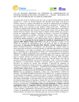 ATA DA REUNIÃO ORDINÁRIA DO CONSELHO DE