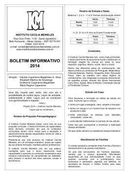 BOLETIM INFORMATIVO 2014 - Instituto Cecília Meireles