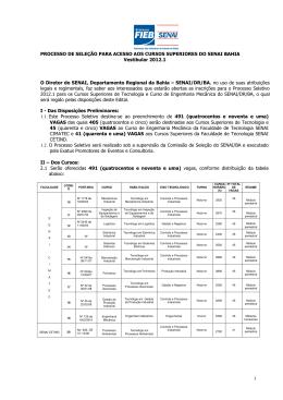 PROCESSO DE SELEÇÃO PARA ACESSO AOS - Senai