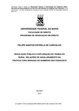 CARVALHO, Felipe S. Estrela - Regulacao Publica e Exploracao do