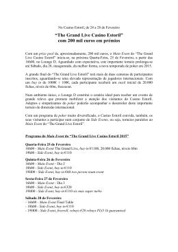 """""""The Grand Live Casino Estoril"""" com 200 mil euros em prémios"""