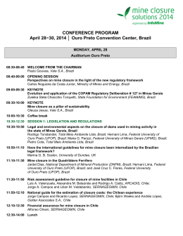CONFERENCE PROGRAM April 28−30, 2014 Ouro Preto