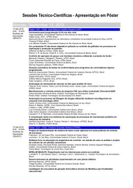 Sessões Técnico-Científicas - Apresentação em Pôster