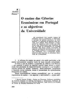 O ensino das Ciências Económicas em Portugal e