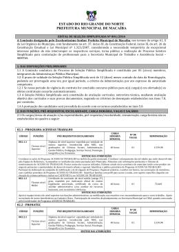 EDITAL DE SELEÇÃO SIMPLIFICADA Nº001/ 2009