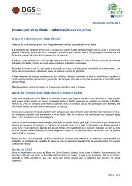 Doença por vírus Ébola – Informação aos viajantes