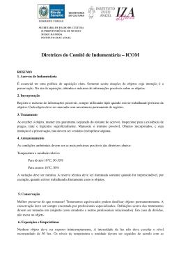 Diretrizes do Comitê de Indumentária – ICOM