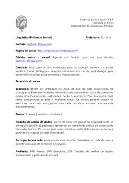 Linguística III (Sintaxe formal) Professora: Suzi