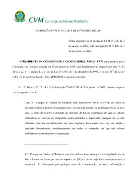 INSTRUÇÃO CVM Nº 547, DE 5 DE FEVEREIRO DE 2014 Altera