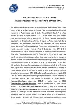ATA DA ASSEMBLEIA DE POSSE GESTÃO BIÊNIO 2013