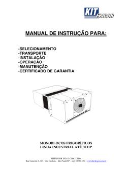 MANUAL DE INSTRUÇÃO PARA: