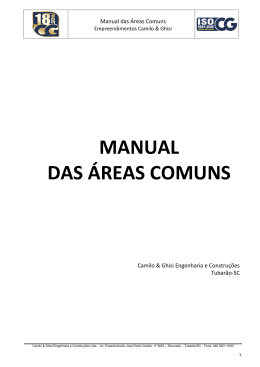 MANUAL DAS ÁREAS COMUNS