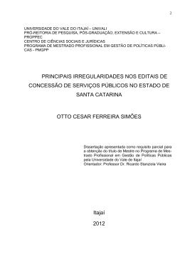 PRINCIPAIS IRREGULARIDADES NOS EDITAIS DE