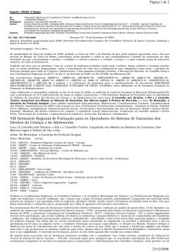 Página 1 de 2 22/12/2008 VIII Seminário Regional de Formação