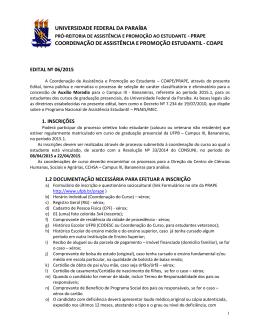 Edital 06.2015 Campus III Bananeiras Auxílio moradia