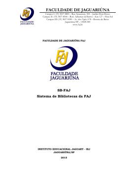 Sistema de Bibliotecas da FAJ – Faculdade de Jaguariúna