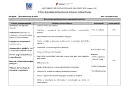 Critérios de Avaliação do Departamento de Ciências Exatas e