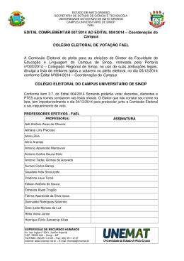 Edital Complementar 007/2014 ao Edital 004/2014