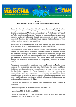CARTA XVIII MARCHA A BRASÍLIA EM DEFESA DOS MUNICÍPIOS