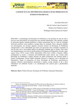 (IN)EFICÁCIA DA METODOLOGIA RESOLUÇÃO DE PROBLEMAS