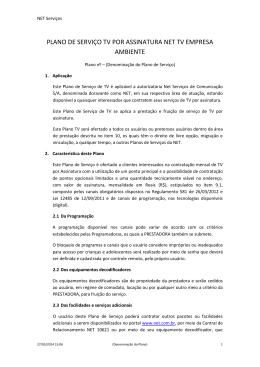 plano de serviço tv por assinatura net tv empresa ambiente