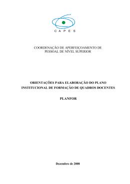 PLANFOR - Plano Institucional de Formação de Quadros Docentes