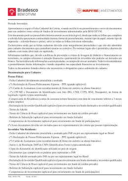 Ficha Cadastral de Cotista