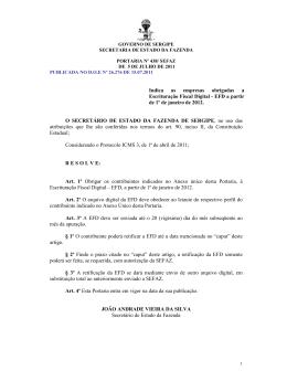 Indica as empresas obrigadas a Escrituração Fiscal - SEFAZ-SE