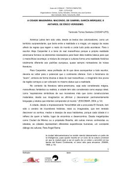 1 A CIDADE IMAGINÁRIA: MACONDO, DE GABRIEL GARCÍA