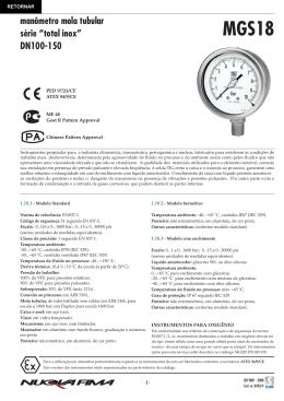 "manômetro mola tubular série ""total inox"" DN100-150"