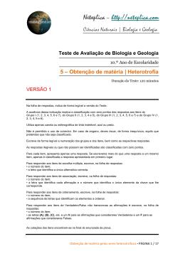 Teste de Avaliação - Biologia e Geologia | Ano I