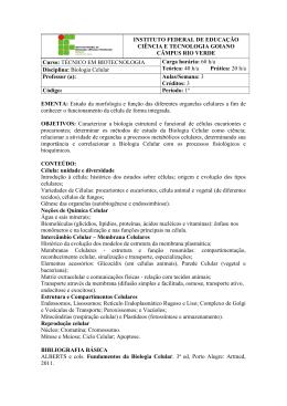 TÉCNICO EM BIOTECNOLOGIA Disciplina: Bio