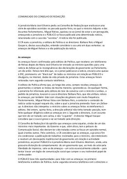 COMUNICADO DO CONSELHO DE REDACÇÃO A jornalista
