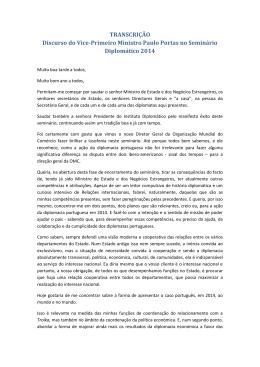 TRANSCRIÇÃO Discurso do Vice-Primeiro Ministro Paulo Portas no