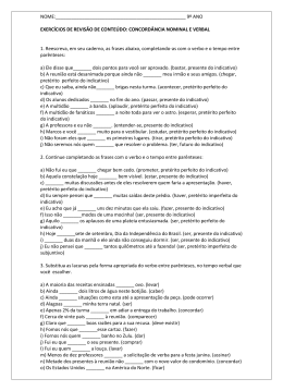 9º ano exercícios de revisão de conteúdo: concordância nominal e ve