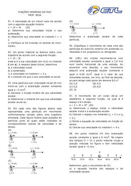 FUNÇÕES HORÁRIAS DO MUV PROF. BIGA 01. A velocidade de