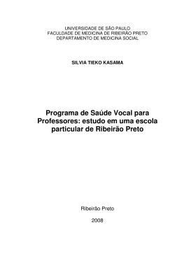 Programa de Saúde Vocal para Professores: estudo em uma escola